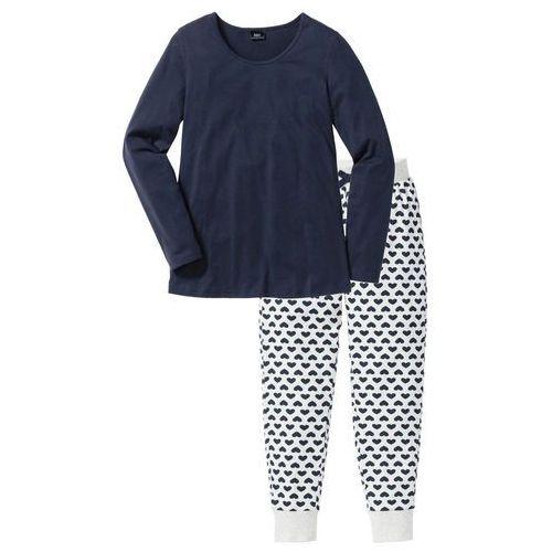 Piżama, bawełna organiczna bonprix naturalny melanż - ciemnoniebieski z nadrukiem, w 2 rozmiarach