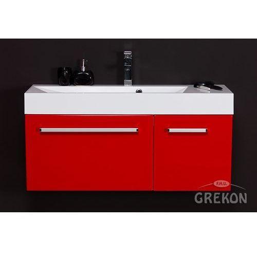 Gante Czerwona szafka wisząca z umywalką 100/36/1 seria fokus cz