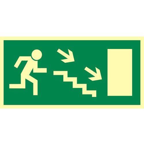 Kierunek do wyjścia drogi ewakuacyjnej schodami w dół w prawo (znak uzupełniający) marki Top design - OKAZJE