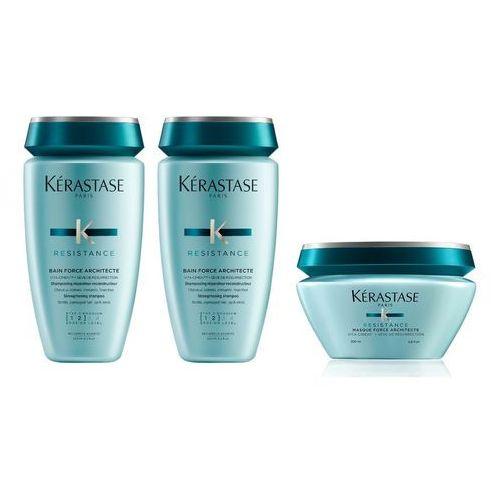 force architecte   zestaw odbudowujący do włosów: kąpiel 2x250ml + maska 200ml marki Kerastase