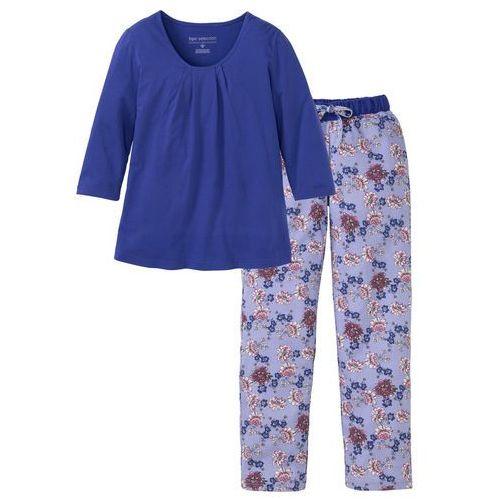 Piżama bonprix szafirowo-jasny lawendowy w kwiaty, w 7 rozmiarach
