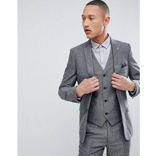 slim fit grey herringbone suit jacket - grey marki French connection