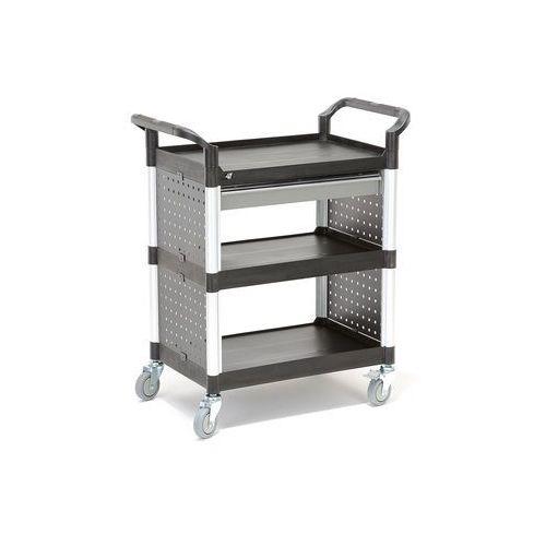 Wózek narzędziowy move z 3 plastikowymi półkami i szufladą, 850x480x1000 mm marki Aj produkty
