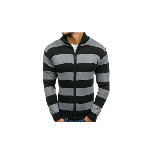 Sweter męski rozpinany antracytowo-szary Denley BM6066