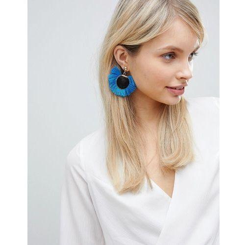 bright blue tassel disc earrings (+) - blue marki South beach