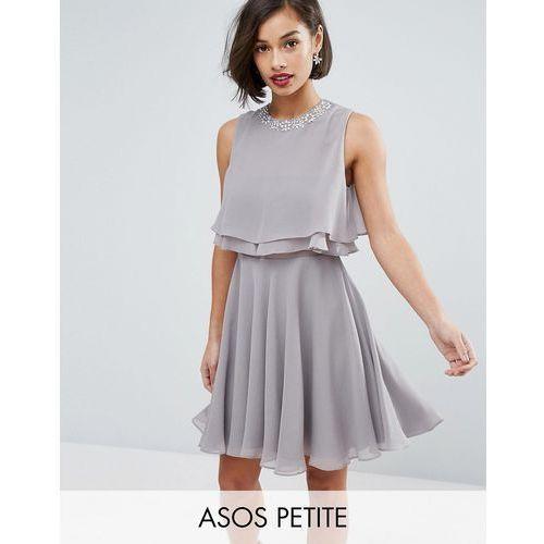 ASOS PETITE Embellished Trim Double Ruffle Crop Top Skater Dress - Grey