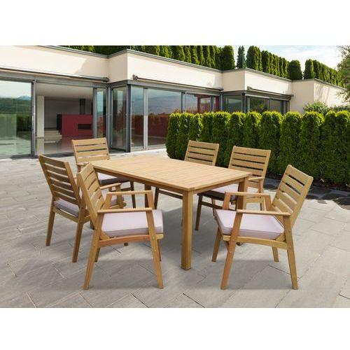 Vente-unique Zestaw ogrodowy azzao z drewna eukaliptusowego - stół i 6 foteli - szarobrązowe siedzisko