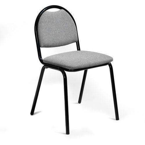 Krzesło do stołówki Warren tkanina szary czarny