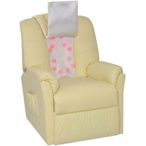 Vidaxl  fotel do masażu shiatsu z kremowo białej sztucznej skóry (8718475948261)