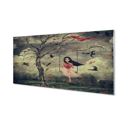 Obrazy akrylowe Drzewo ptaki dziewczynka chmury skały