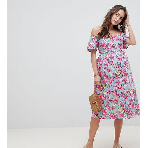 Asos maternity Asos design maternity ultimate off shoulder ruffle midi sundress in vintage floral - multi