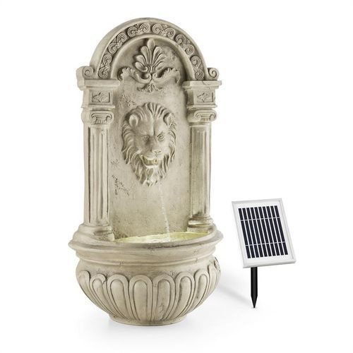 Blumfeldt löwenstein ogrodowa fontanna ścienna 2 w panel solarny led polyresin imitacja kamienia (4260486158282)