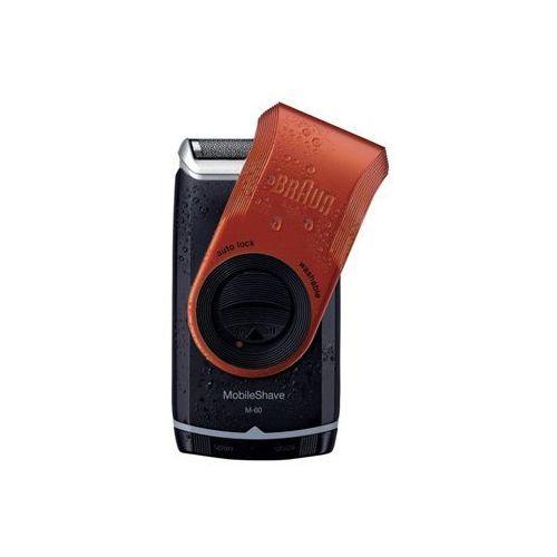 mobileshave m-60r maszynka do golenia w wersji podróżnej czerwony (smart foil, wide floating foil, washable) marki Braun