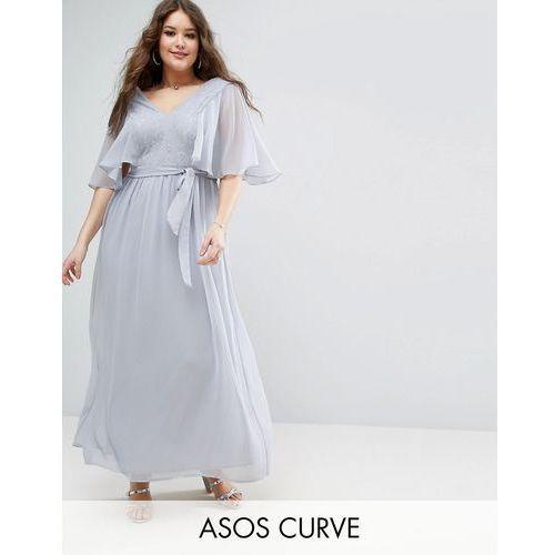 ASOS CURVE Lace Panelled Flutter Sleeve Maxi Dress - Grey, kolor szary