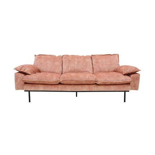 HK Living Sofa Retro 3-osobowa aksamitna w kolorze różowym MZM4661