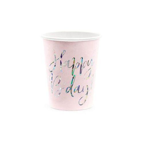 Kubeczki urodzinowe jasnoróżowe Happy B'day - 220 ml - 6 szt. (5900779113015)