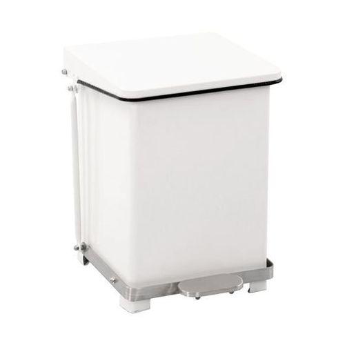 Przemysłowy pojemnik otwierany pedałem, blacha stalowa, kolor biały, RAL 9016, p