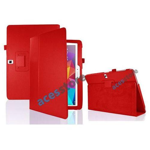 4w1 Etui stojak Samsung Galaxy Tab 4 10.1 + folia + ściereczka + rysik - Czerwony, kolor czerwony
