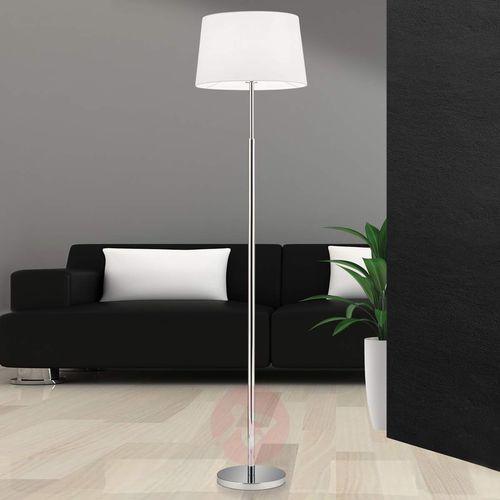 Lampa stojąca Vardan z białym lnianym kloszem