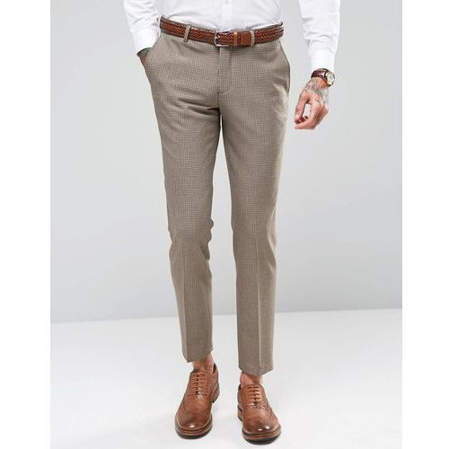skinny dogtooth wedding suit trousers with stretch - brown marki Selected homme