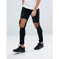 Mennace Muscle Fit Jeans In Black With Distressing - Black, jeansy