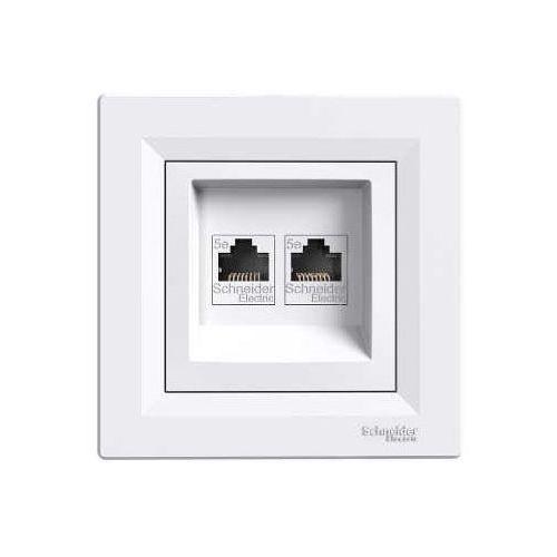 Schneider Asfora gniazdo komputerowe podtynkowe podwójne 2xrj45 kategoria 5e z ramką białe eph4400121 (3606480526992)