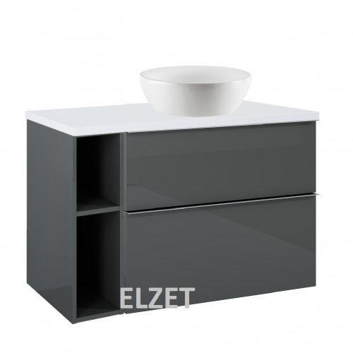 ELITA szafka Look 2S anthracite pod umywalkę nablatową + moduł otwarty + blat 100 white 167082+167102+166894