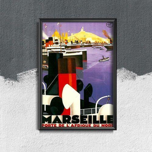 Plakat retro do salonu Plakat retro do salonu Marsylia - Drzwi Afryki Północnej