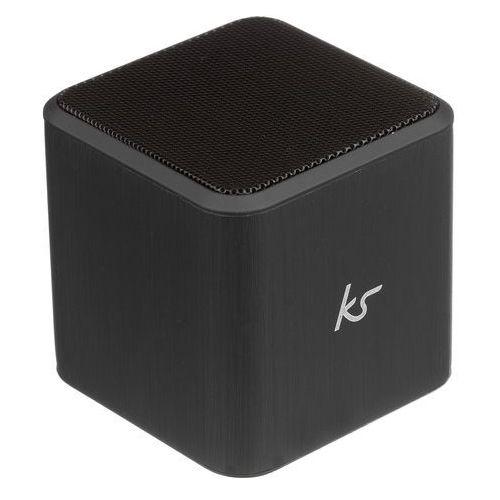Kitsound cube ulegający ponownego ładowania, przenośny głośnik bluetooth z 3,5 mm kabel audio okablowane czarny (5030578259918)