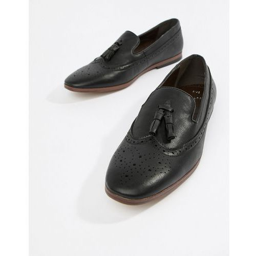 New look faux leather loafers with embossed detail in black - black