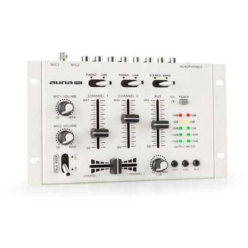 Auna Pro TMX-2211 MKII, 3/2-kanałowy didżejski pulpit mikserski, crossfader, talkover, montaż w racku, biały