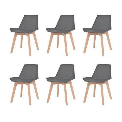Komplet 6 krzeseł, drewniane nogi i szare, plastikowe siedziska