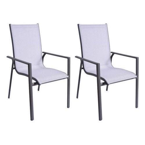 Zestaw 2 foteli ogrodowych samaxi z aluminium i tekstylenu - białe siedzisko marki Vente-unique