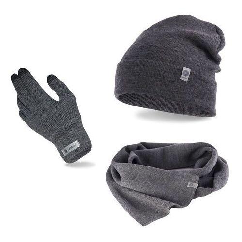 Pamami Komplet męski - czapka, szalik, rękawiczki - szary (5902934068673)