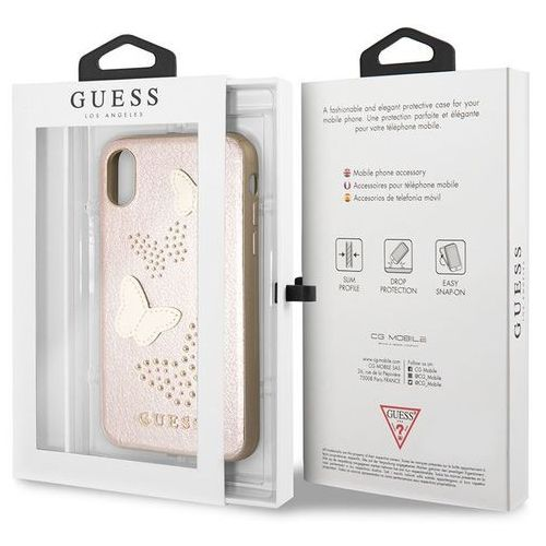 Guess Studs & Sparkles - Etui iPhone X (różowo złoty) (3700740407417)