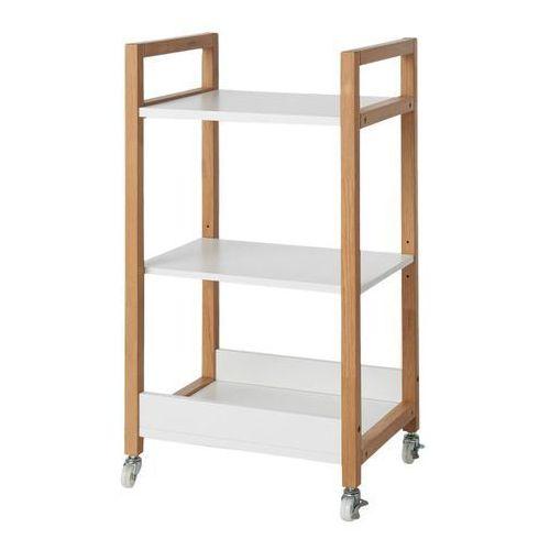 Goodhome Wózek nantua biały z elementami drewna (3663602527046)