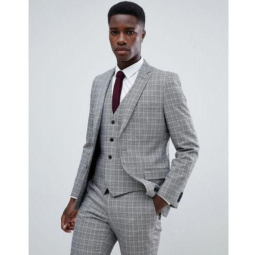 heritage prince of wales check slim fit suit jacket - grey, French connection
