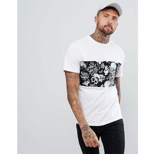 Pull&Bear T-Shirt With Skull Chest Print In White - White, kolor biały