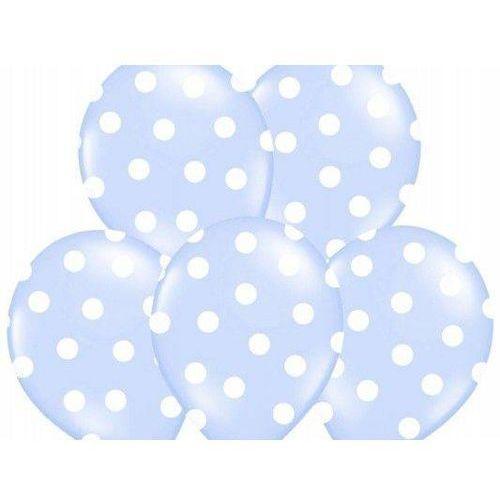 Balony błękitne w białe kropki - 37 cm - 50 szt.