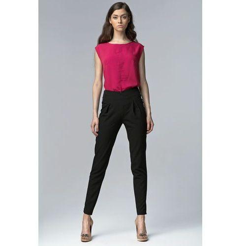 Czarne Eleganckie Spodnie z Wysokim Stanem z Rozciętymi Nogawkami, z
