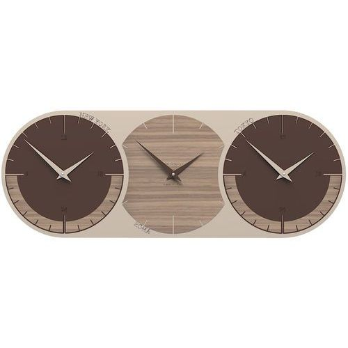 Zegar ścienny - 3 strefy czasowe World Clock CalleaDesign orzech włoski (12-010-85)