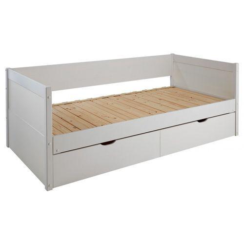 Vente-unique Kanapa z wysuwanym łóżkiem alfiero z szufladami - 90 × 190 cm - lakierowane na biało