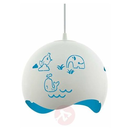 Lampa wisząca Eglo Laurina 97393 sufitowa dziecięca 1x60W E27 biało/niebieska (9002759973933)