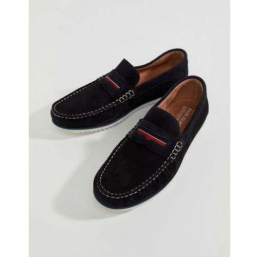 River island leather loafers with taping detail in navy - navy