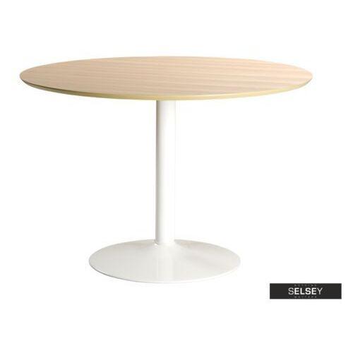 Selsey stół okrągły balsamita średnica 110 cm dąb na białej nodze (5903025164243)