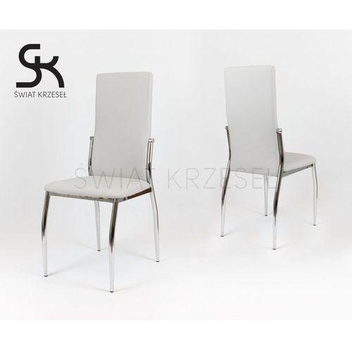 Sk design  ks004 szare krzesło z ekoskóry na stelażu chromowanym - szary