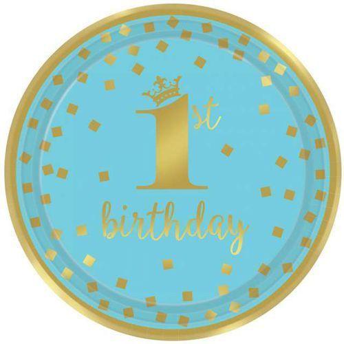 """Amscan Talerzyki papierowe """"1st birthday - urodziny"""", niebieskie, , 23 cm, 8 szt"""