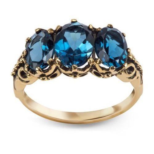Pierścionek z London Blue Topazami, kolor niebieski