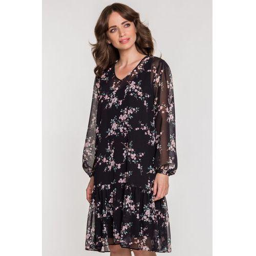 Kwiecista sukienka z falbaną - SU, 1 rozmiar