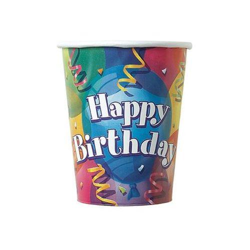 Unique Kubeczki urodzinowe happy birthday baloniki - 266 ml - 8 szt.